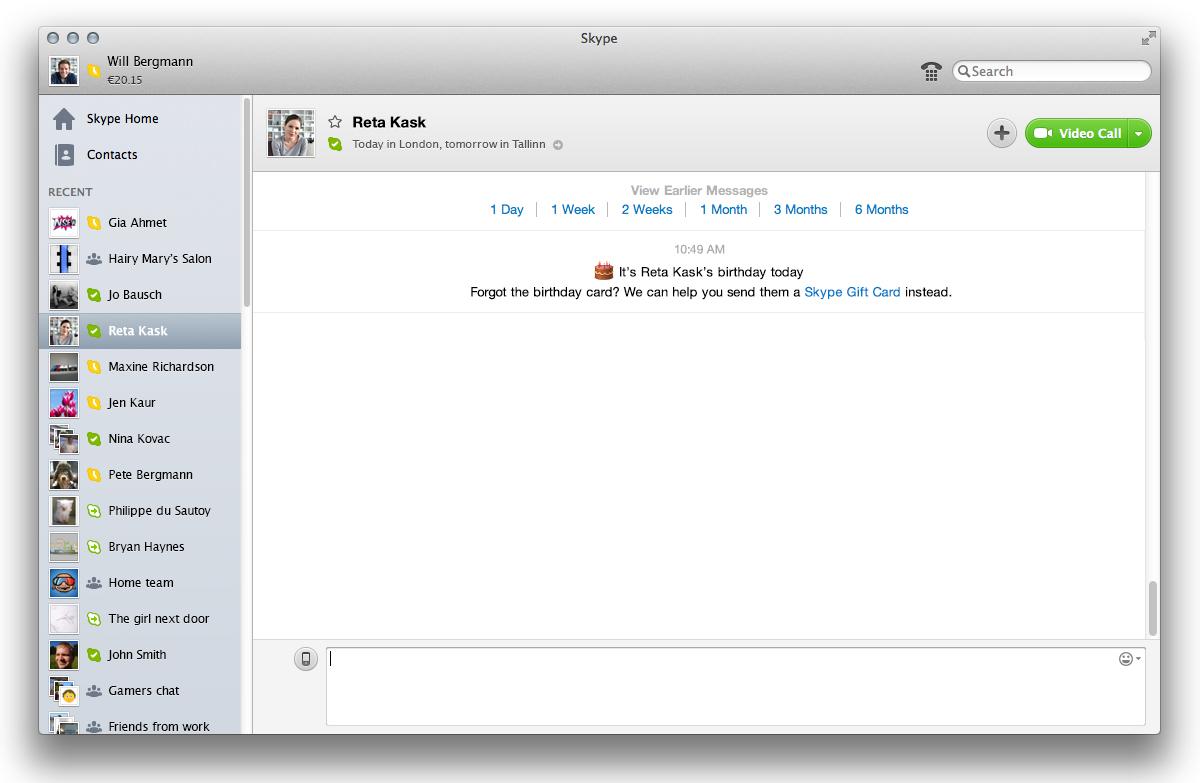 eGifting no Skype 6.2 para Mac