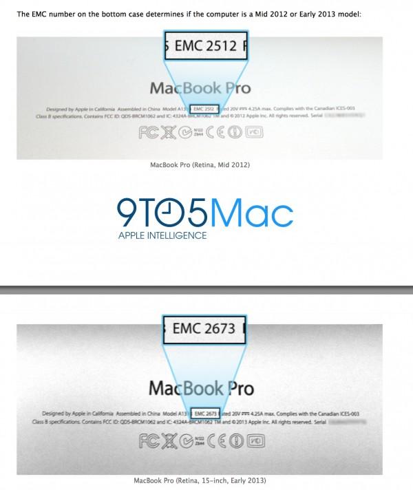 Comparação do código de modelo do MacBook Pro com tela Retina 2012-2013