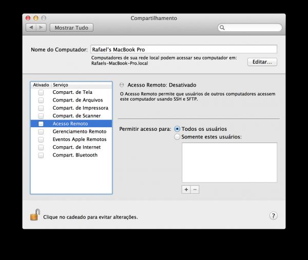 Acesso Remoto - Compartilhamento do OS X