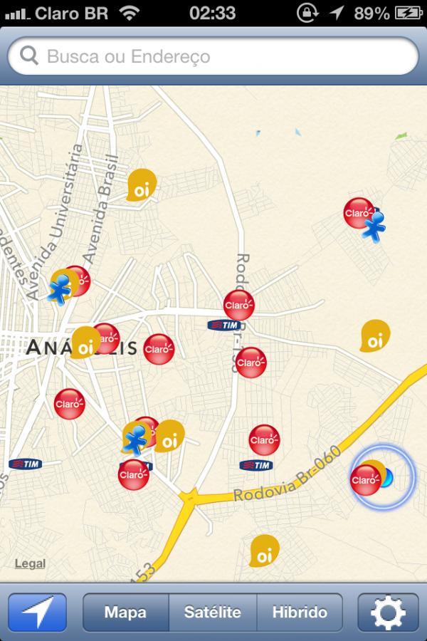 Screenshot do app Operadora para iOS