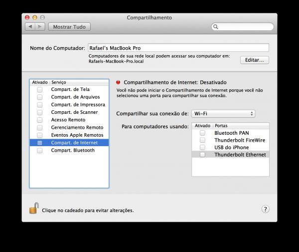 Compartilhamento de internet - Mac OS X