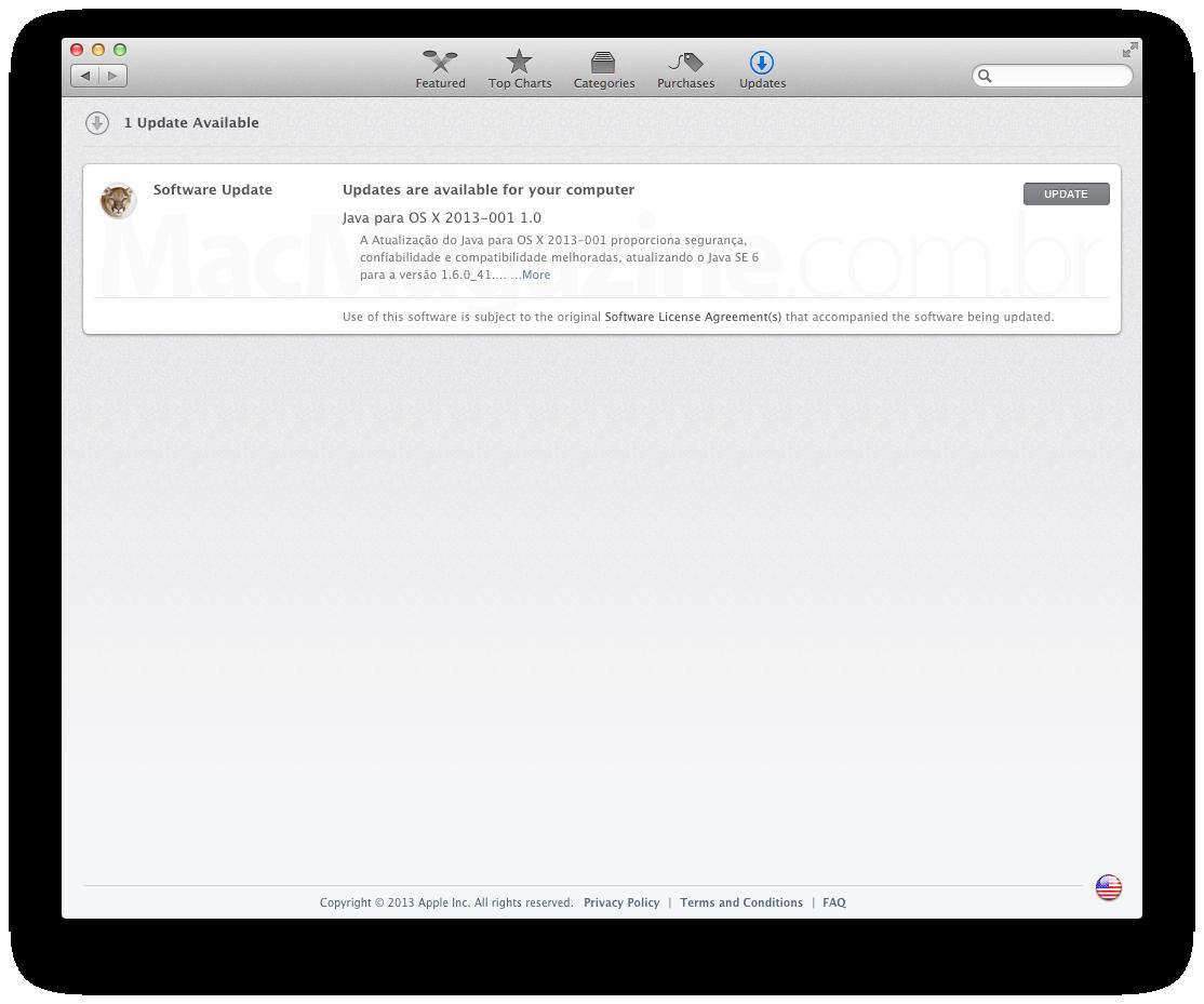 Atualização do Java - Apple