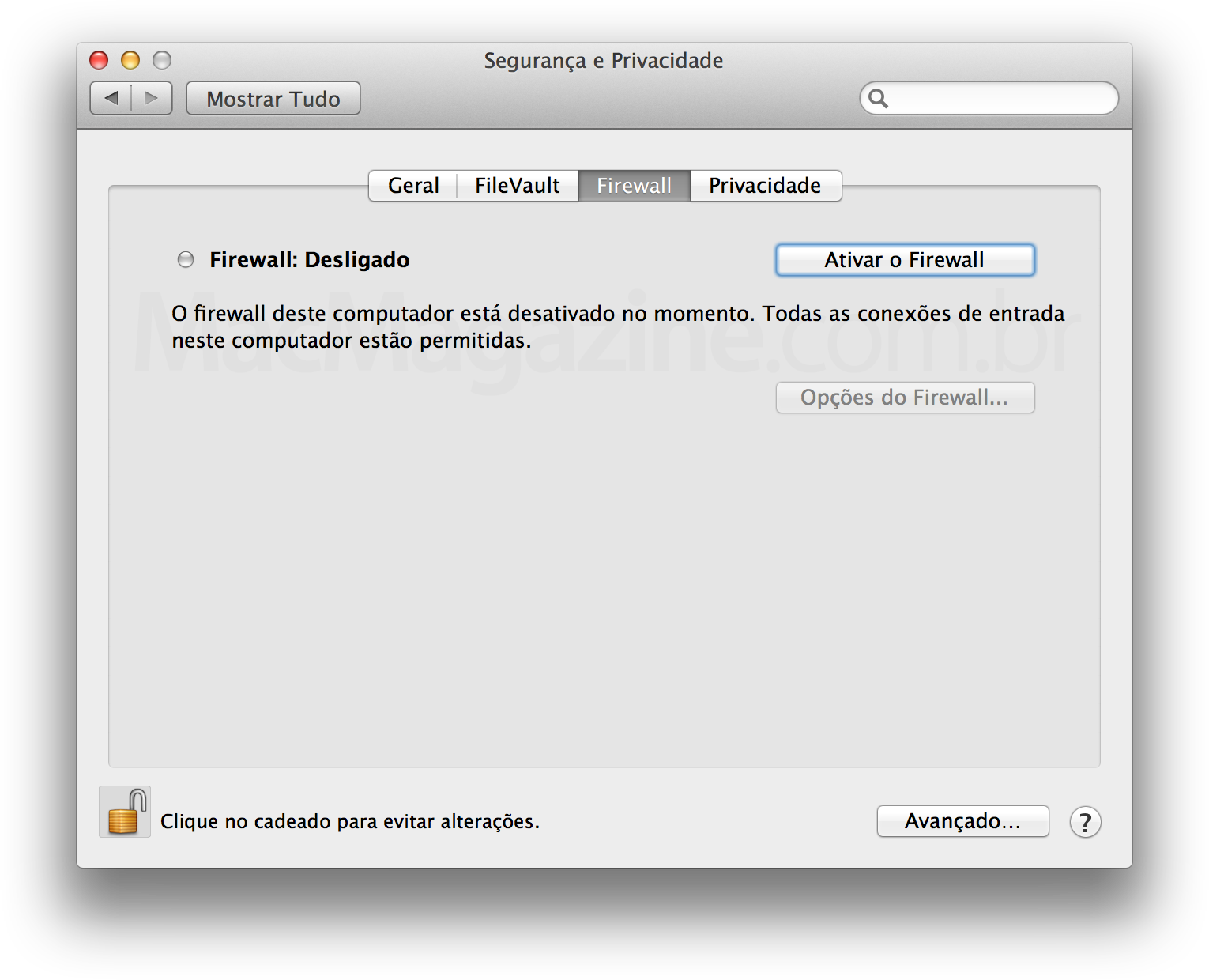 Firewall do Mac OS X