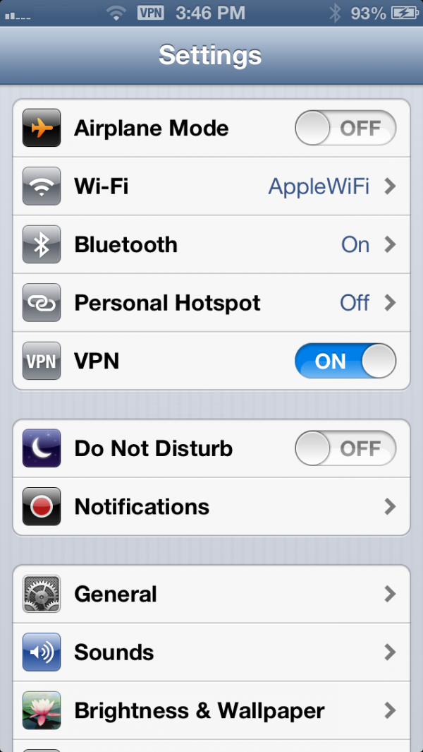 VPN no iOS