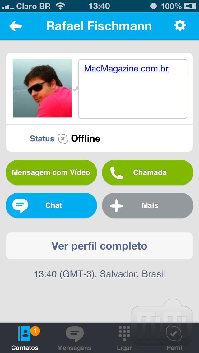 Mensagem de vídeo pelo Skype
