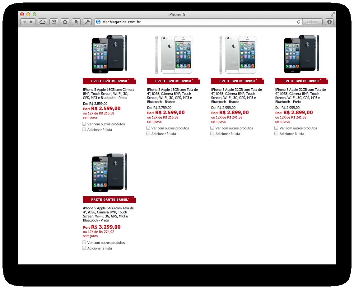 iPhone 5 no Ponto Frio