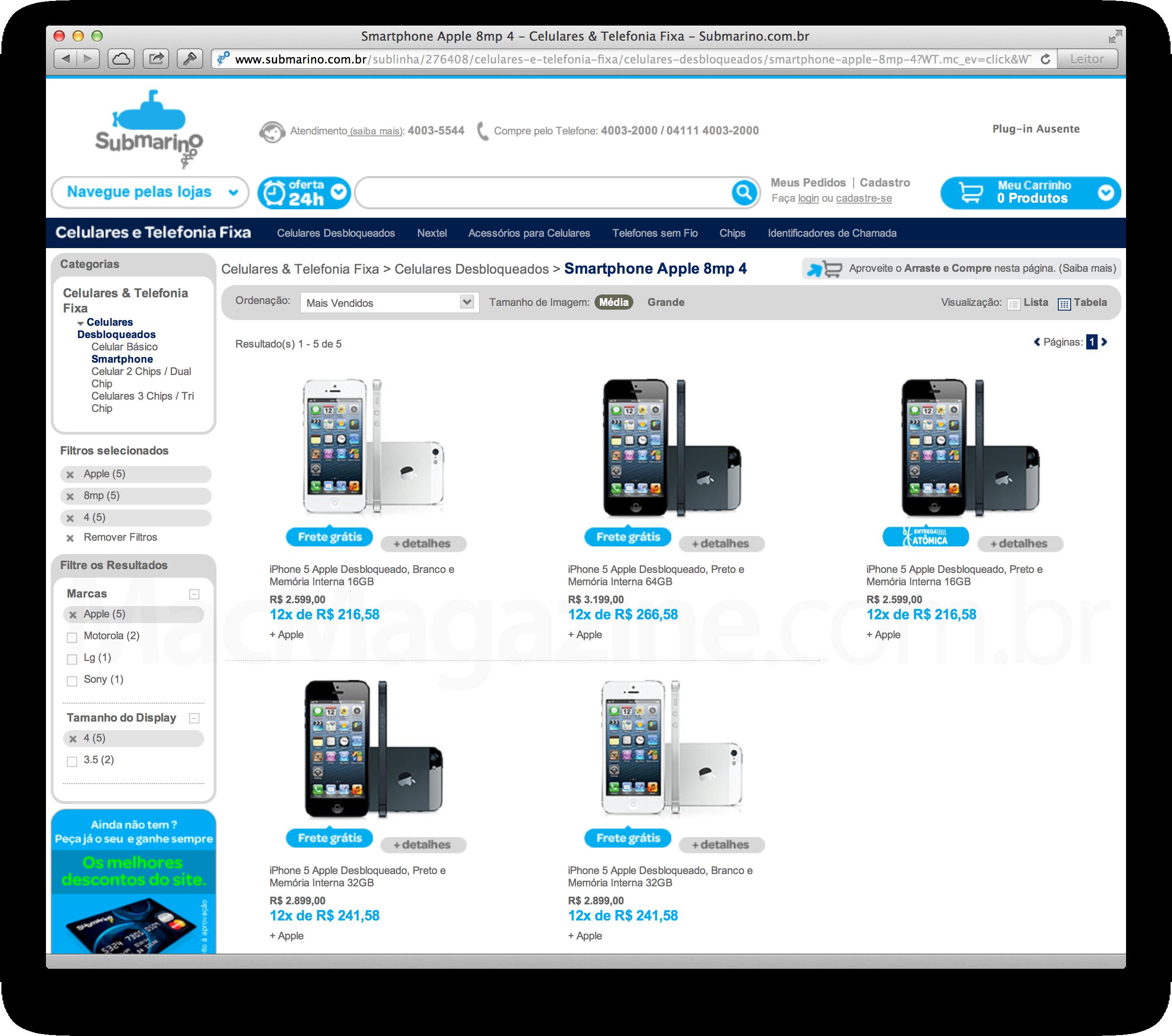 Submarino vendendo iPhones 5