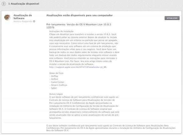OS X 10.8.3, compilação 12D76