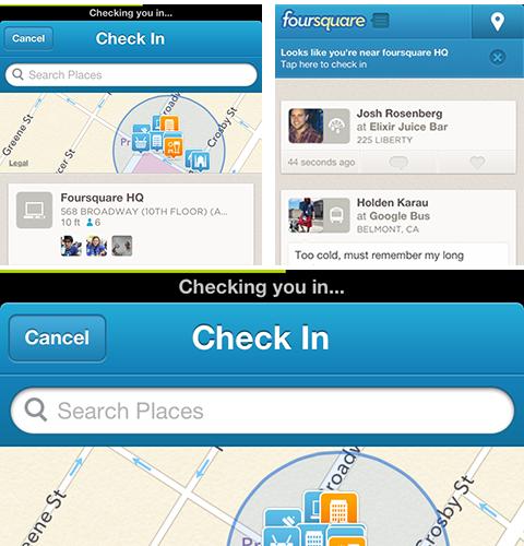 Check-in rápido no Foursquare