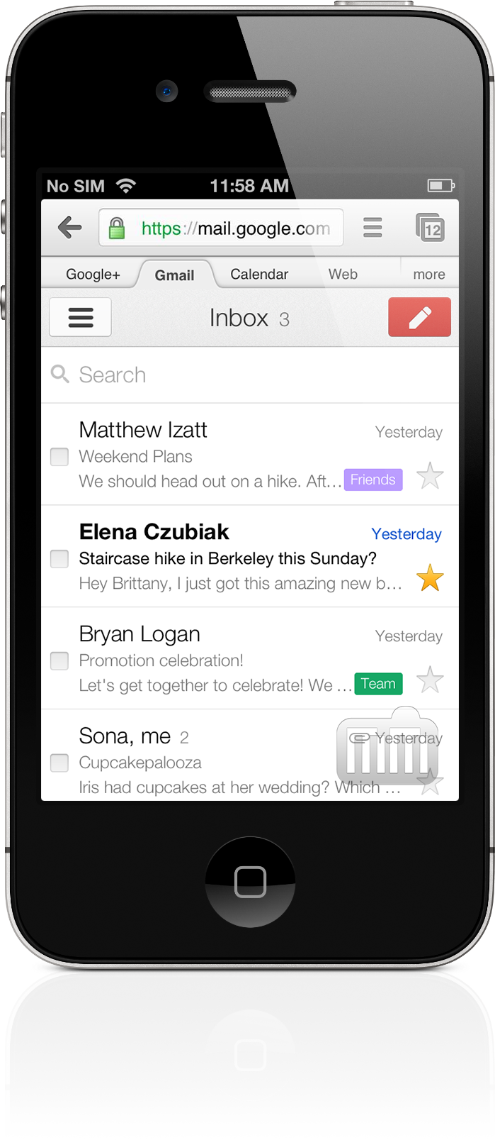 Gmail for mobile com novo visual