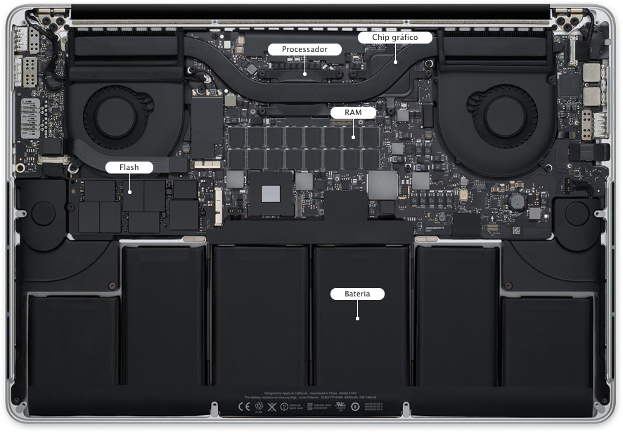 Interior do MacBook Pro com tela Retina de 15 polegadas
