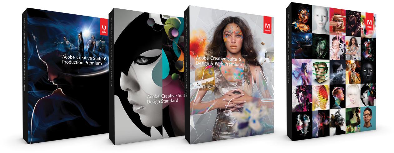 Caixas da Adobe Creative Suite 6