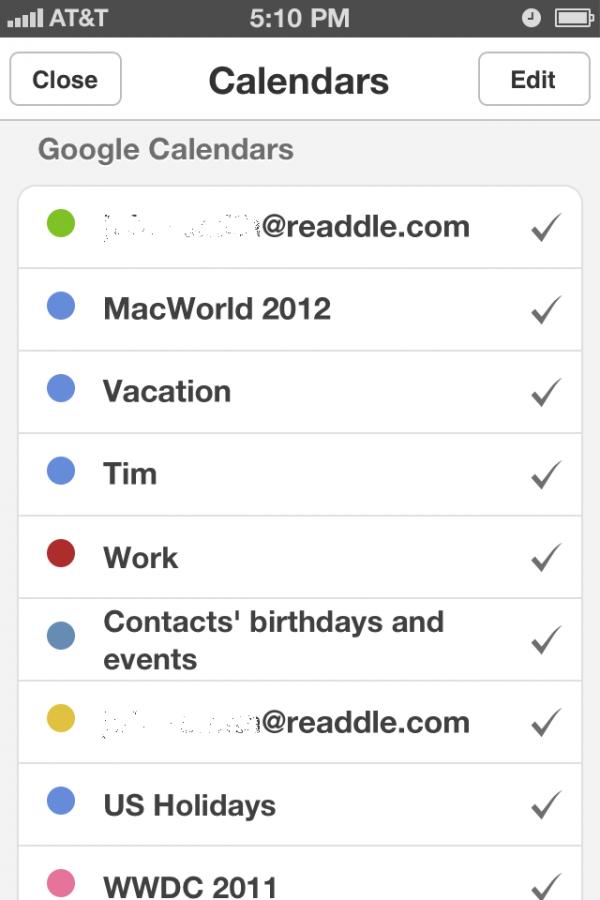 Screenshot do app Calendars