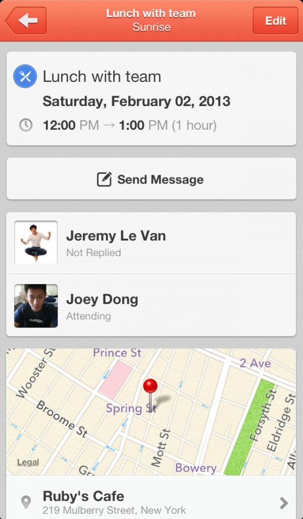 Screenshot do app Sunrise