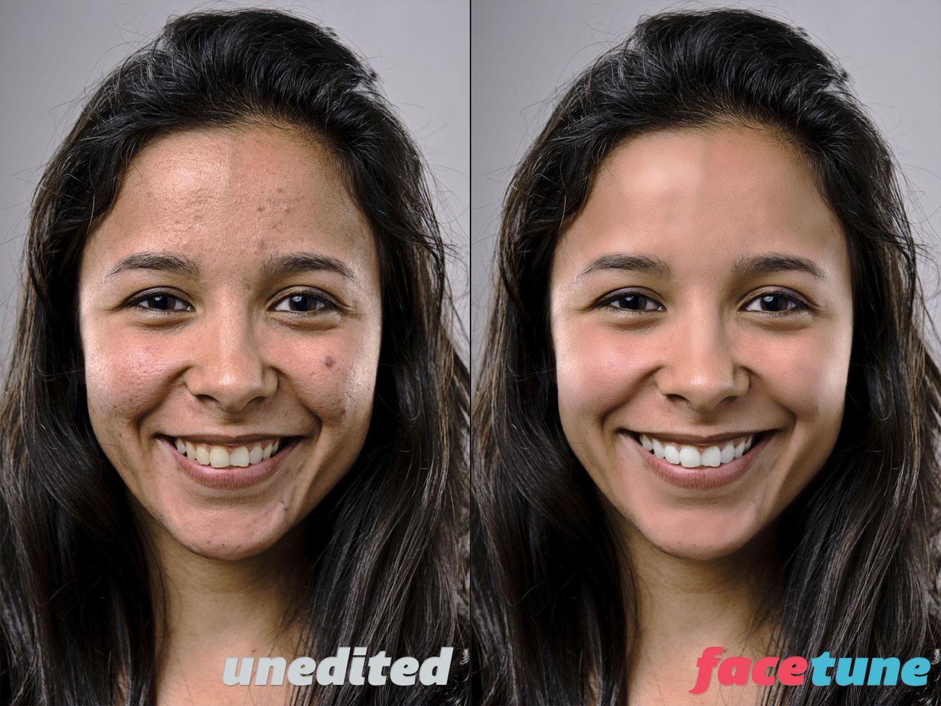 Comparação de edição - Facetune App