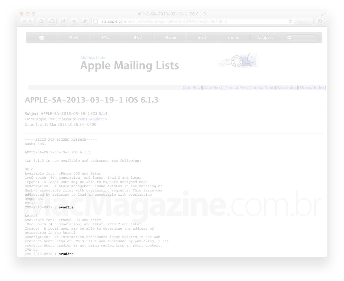 Crédito da Apple para o evad3rs