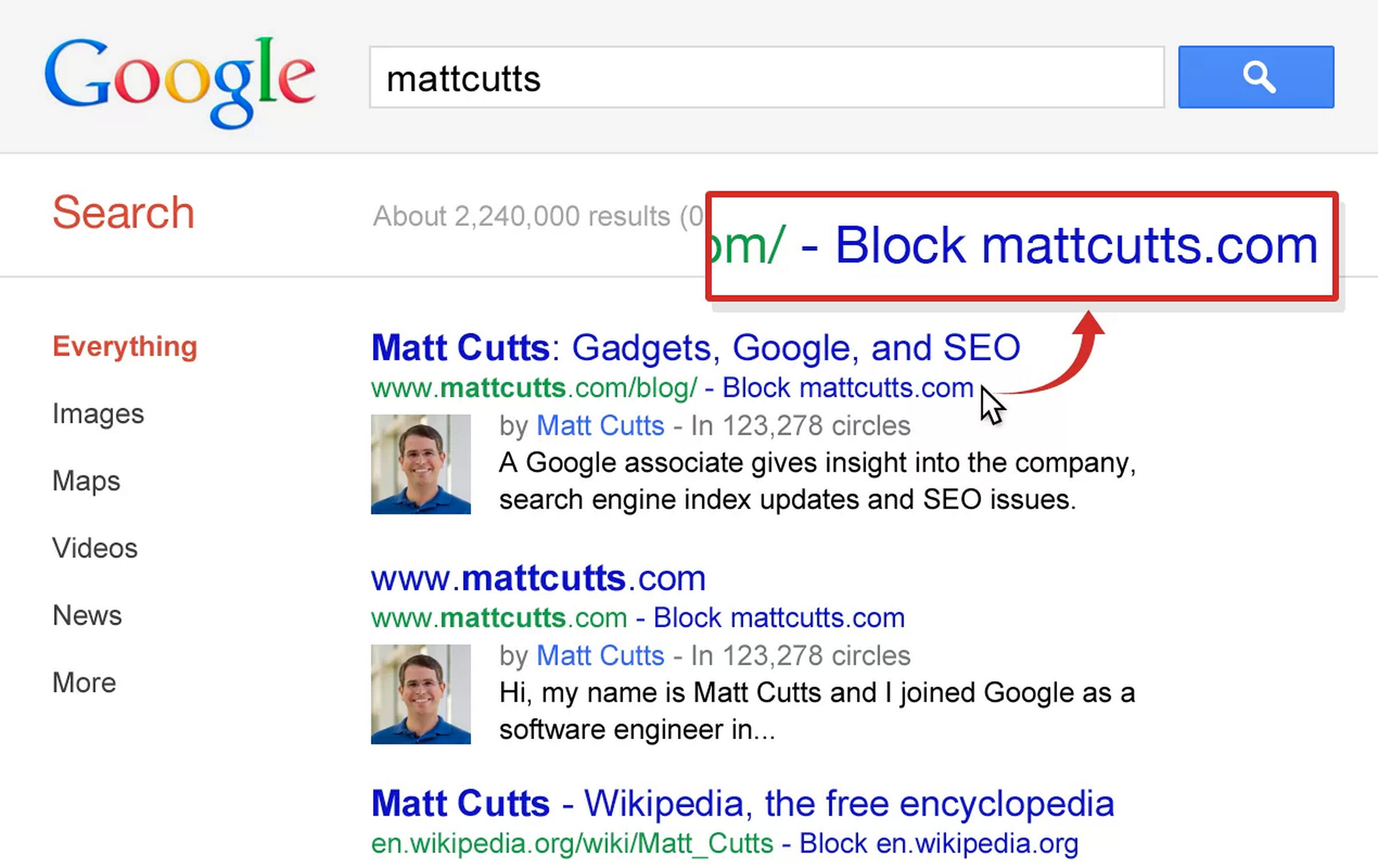 Personal Blocklist do Google no Chrome