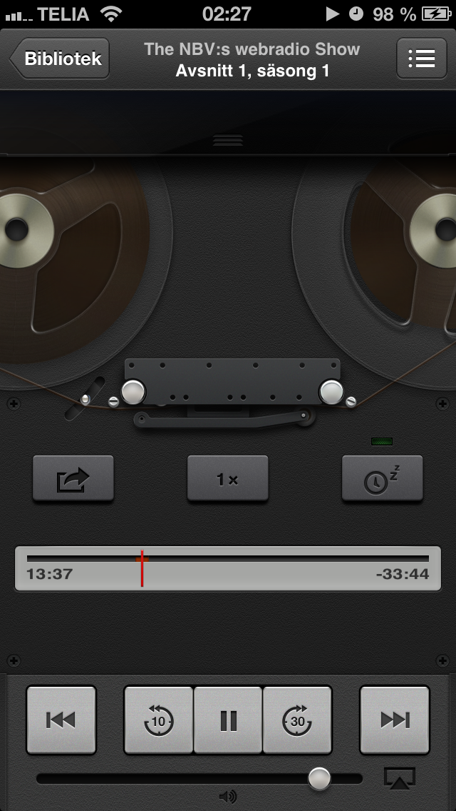 Antiga interface do app Podcast