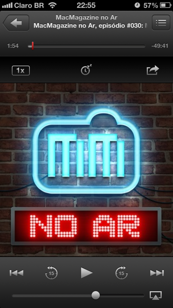 Nova interface do app Podcast