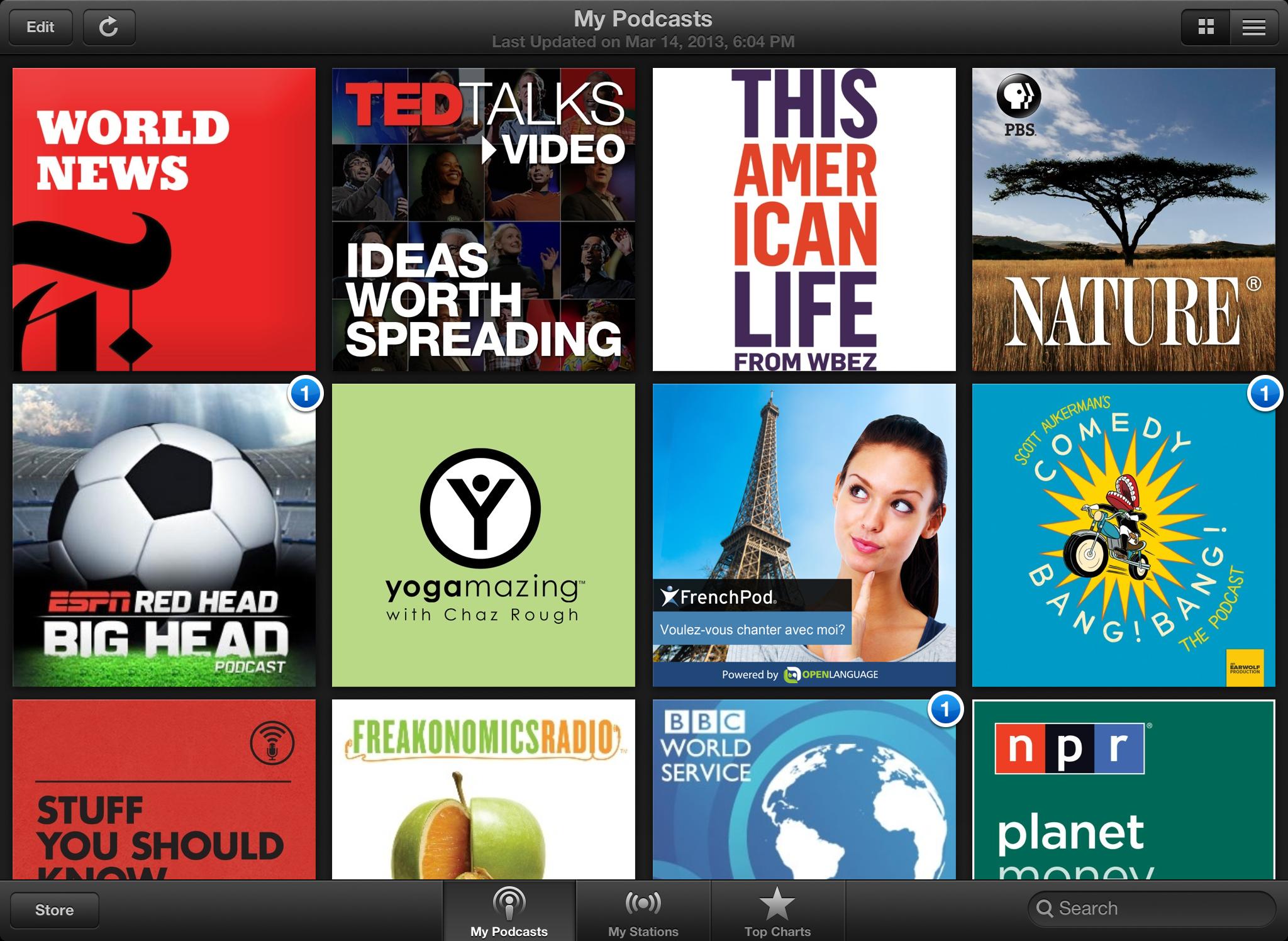 Estações no app Podcasts para iOS