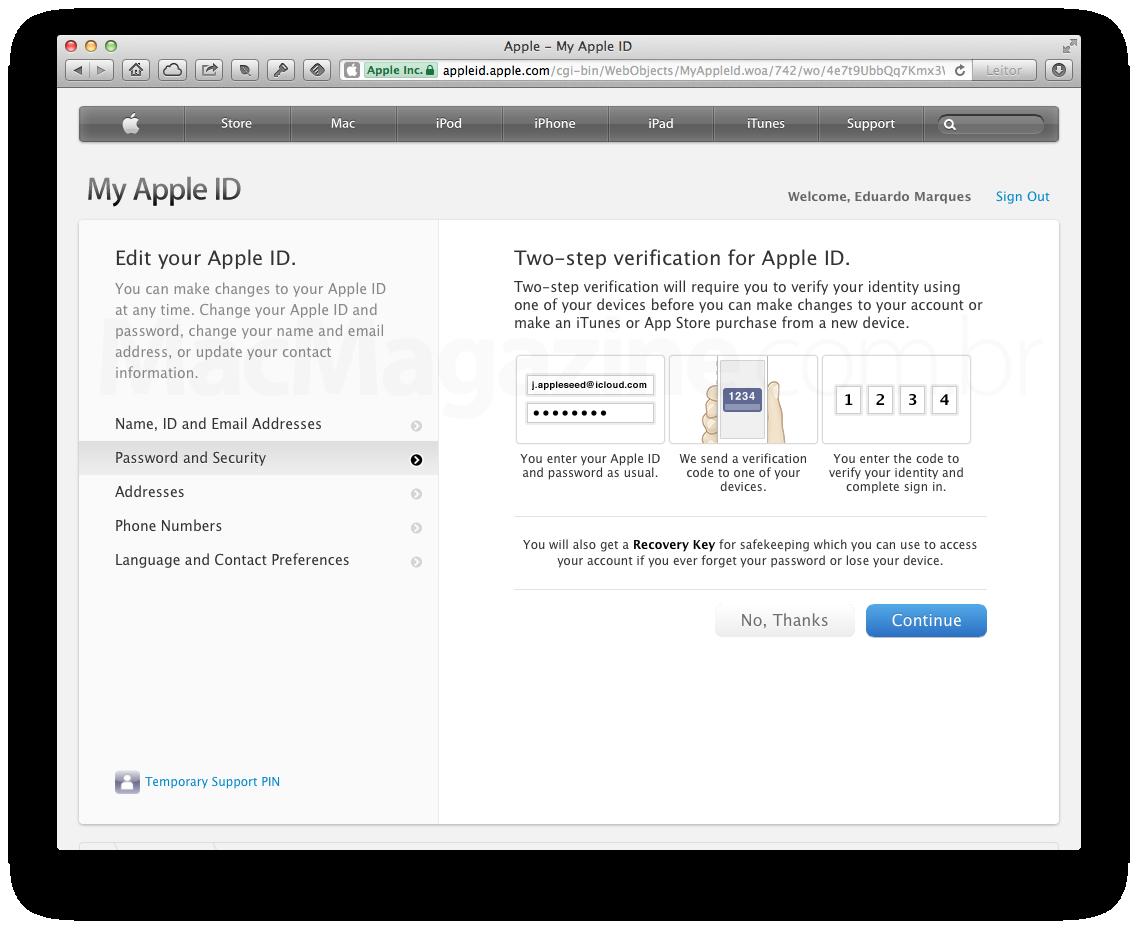 Apple ID - Verificação em duas etapas