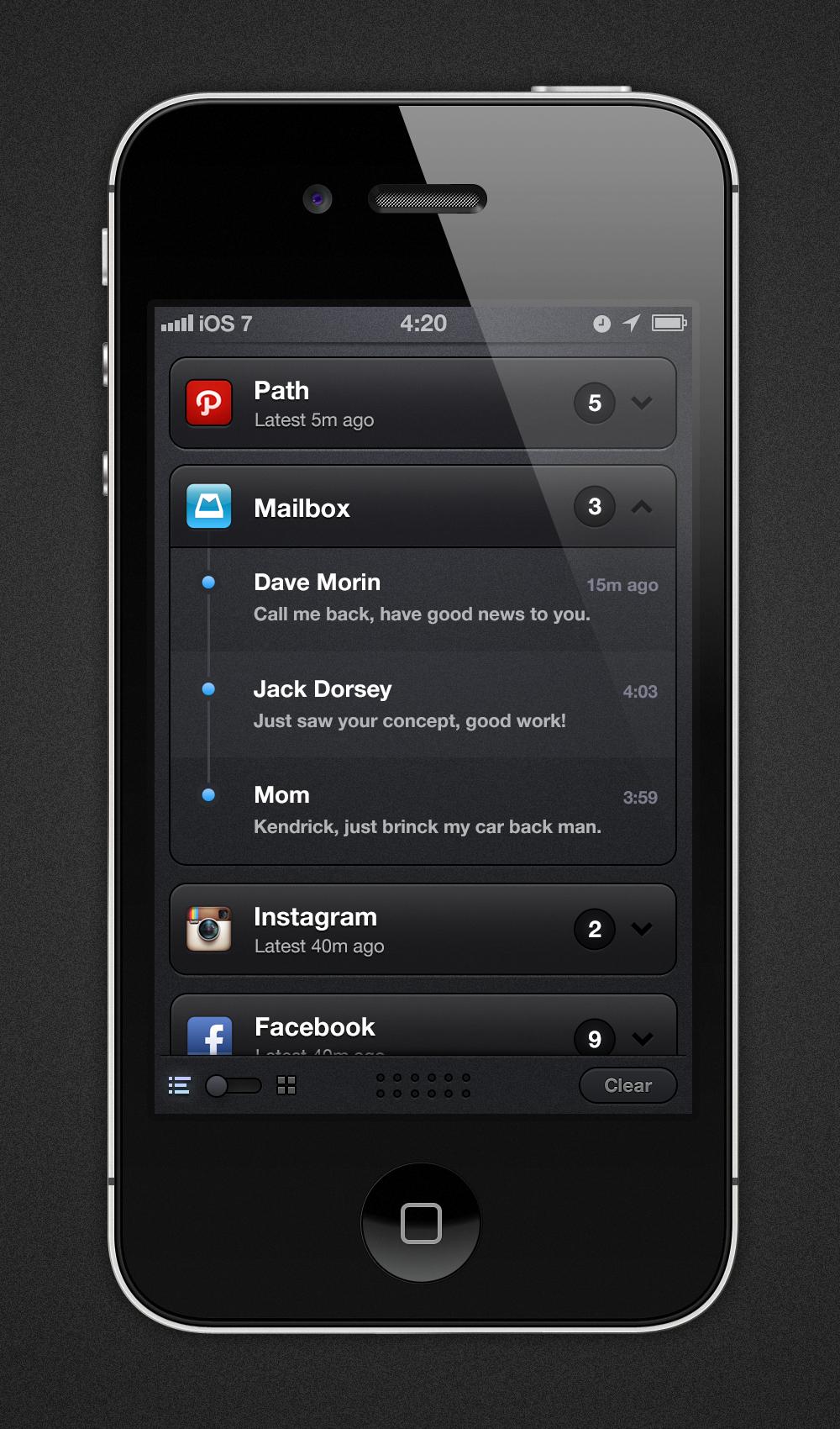 Conceito iOS 7 - Central de Notificações