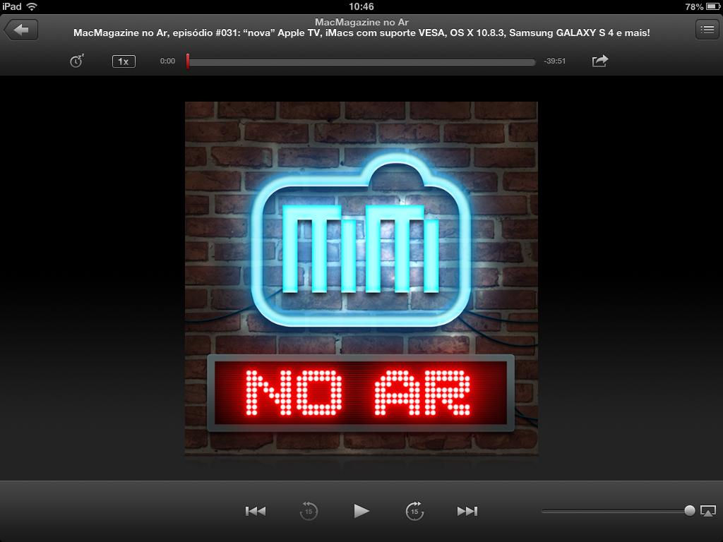 Aplicativo Podcasts rodando o MacMagazine no Ar