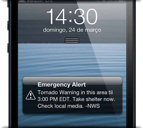 Alerta meteorológico do iOS