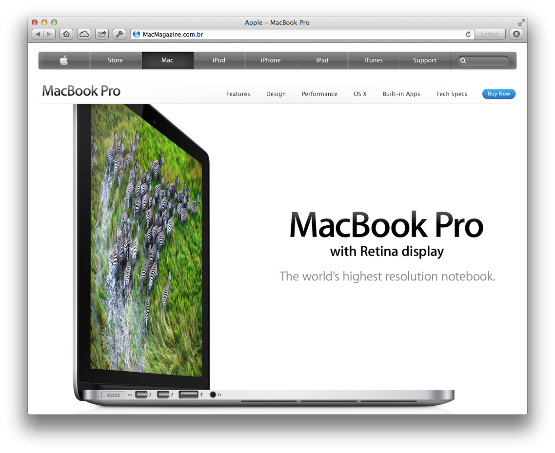 Slogan do MacBook Pro com tela Retina