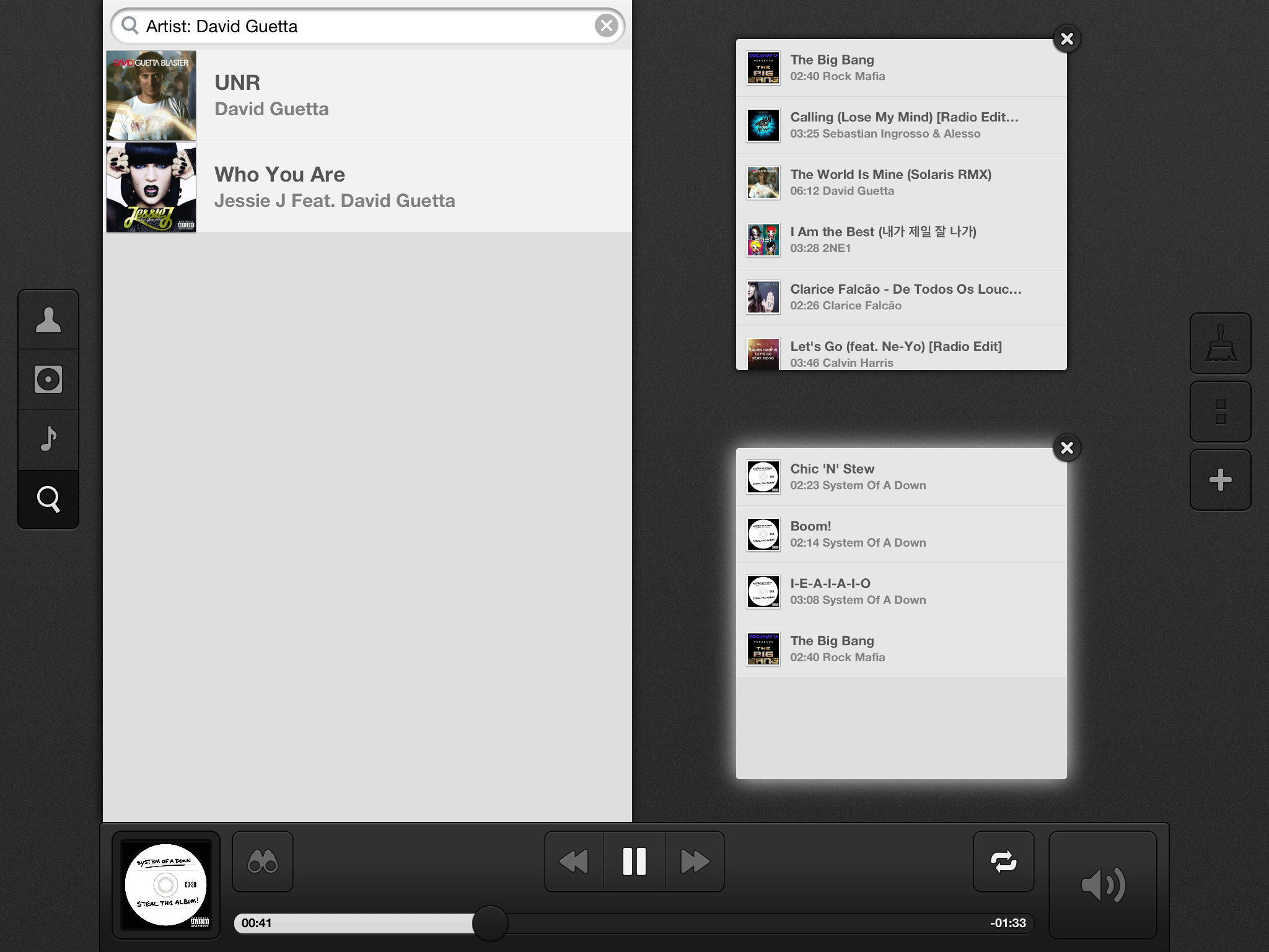 Screenshot do app Couch Music Player