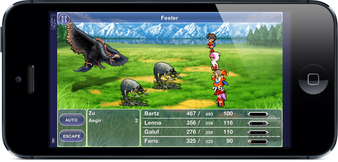 Screenshot do Final Fantasy V no iPhone 5