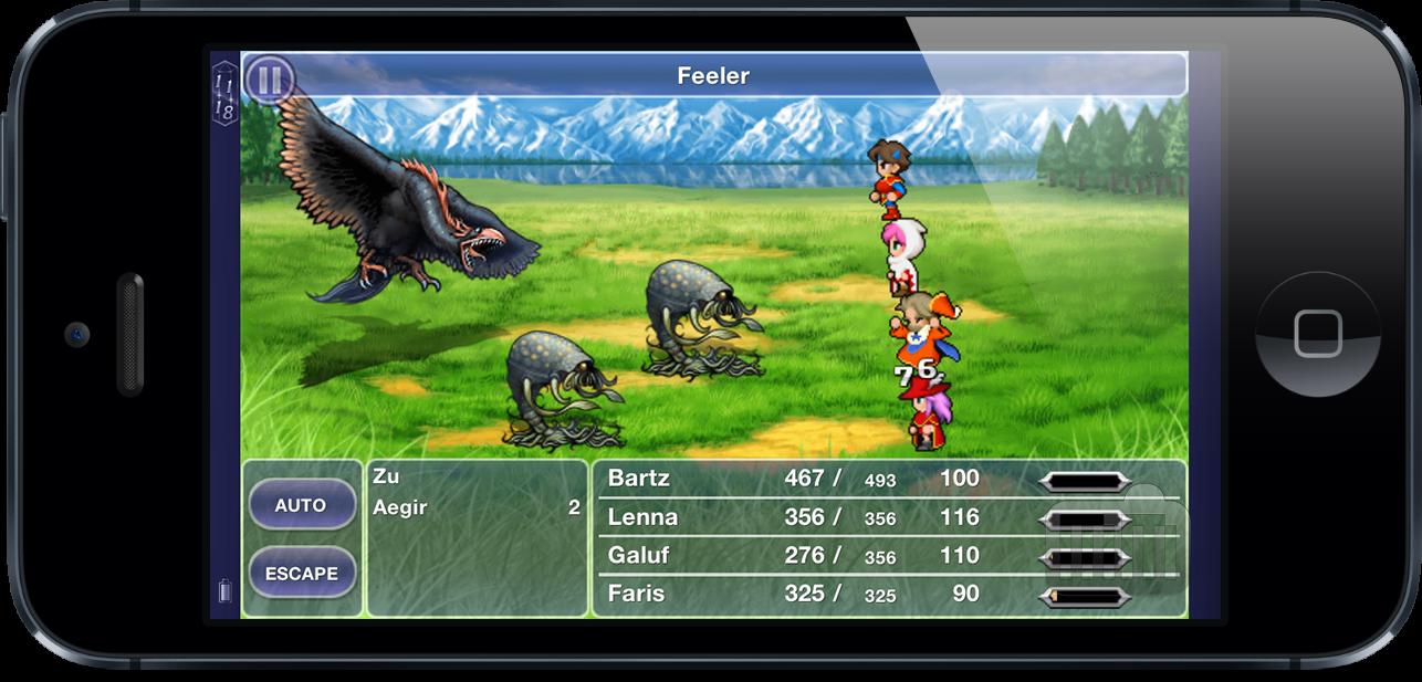 Screenshot do Final Fantasy V no iPhone 5