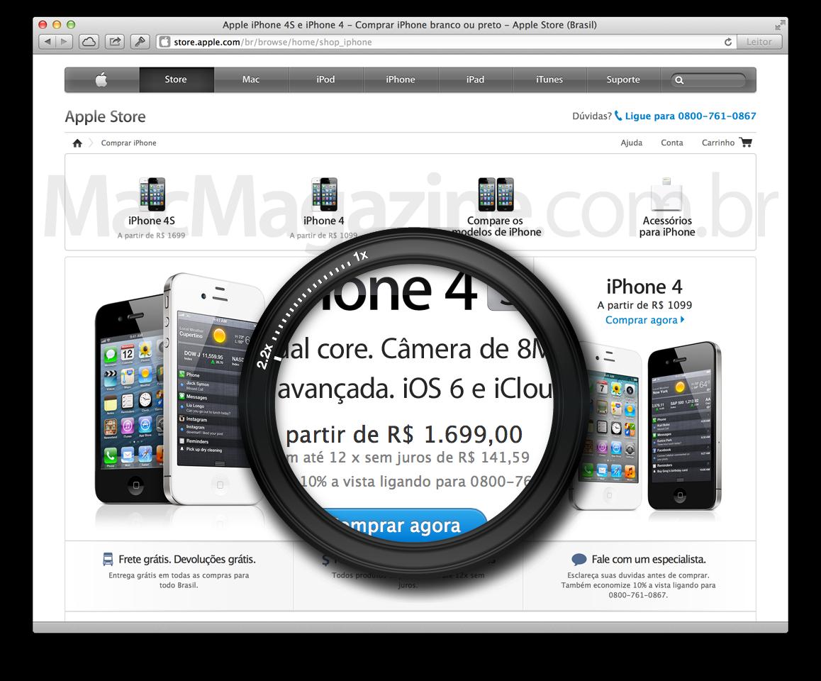 Preços de iPhones na Apple Brasil
