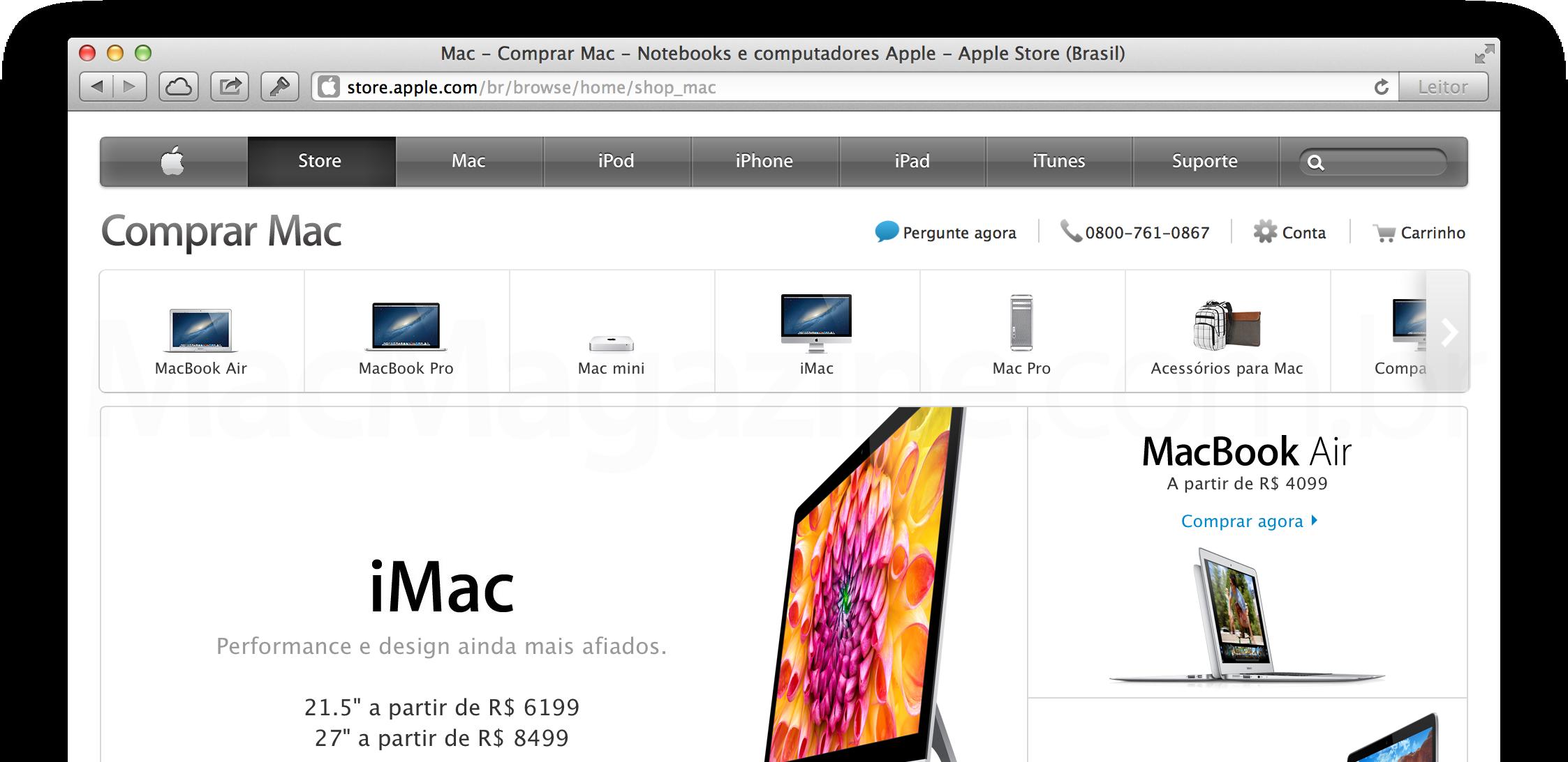 Menu da Apple Online Store