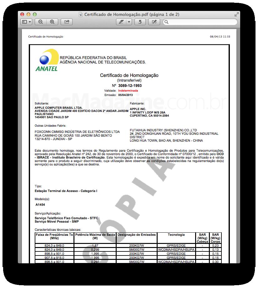 Certificado - iPad mini
