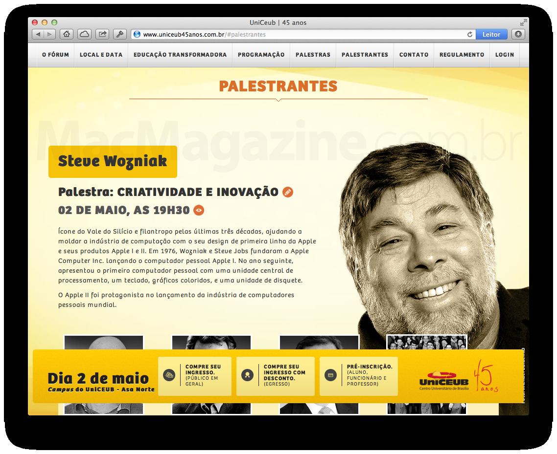 Site da UniCEUB divulgando evento com Steve Wozniak
