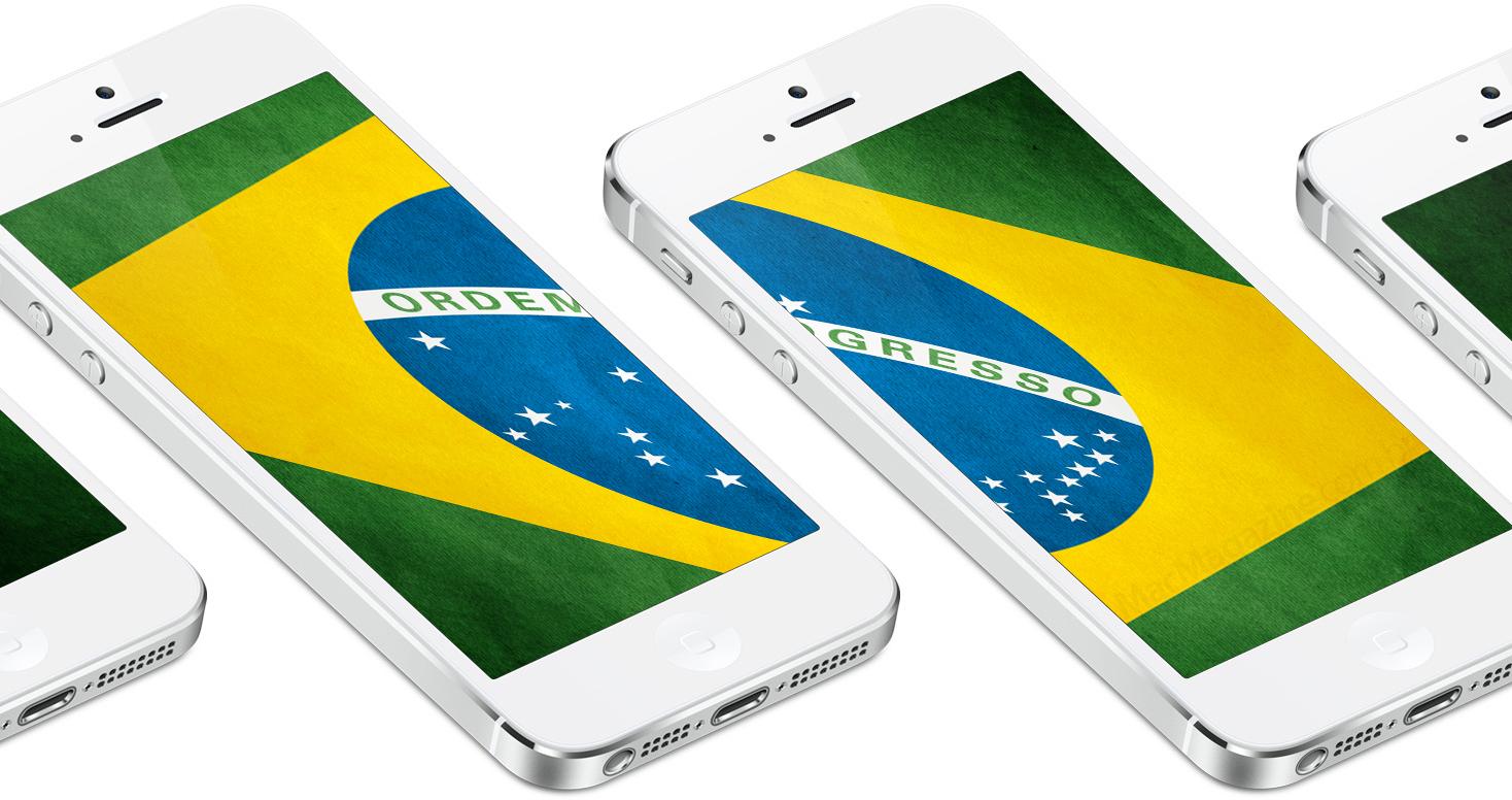 iPhones 5 com a bandeira do Brasil