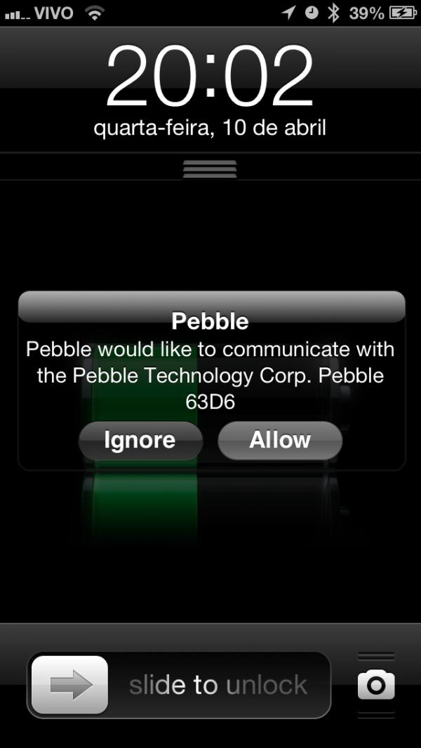 Screenshot chata do Pebble