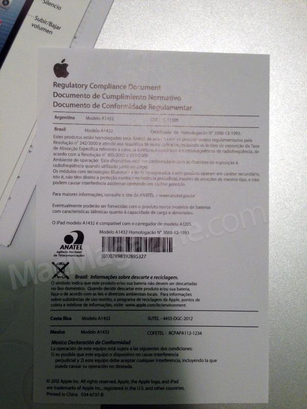 Documento de conformidade de iPad mini com ANATEL