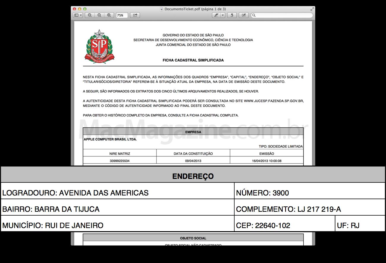 Registro da Apple na Junta de SP