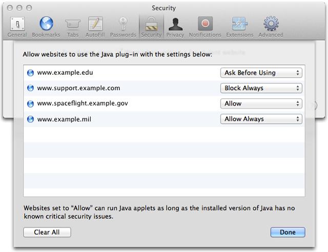 Preferências de Java no Safari