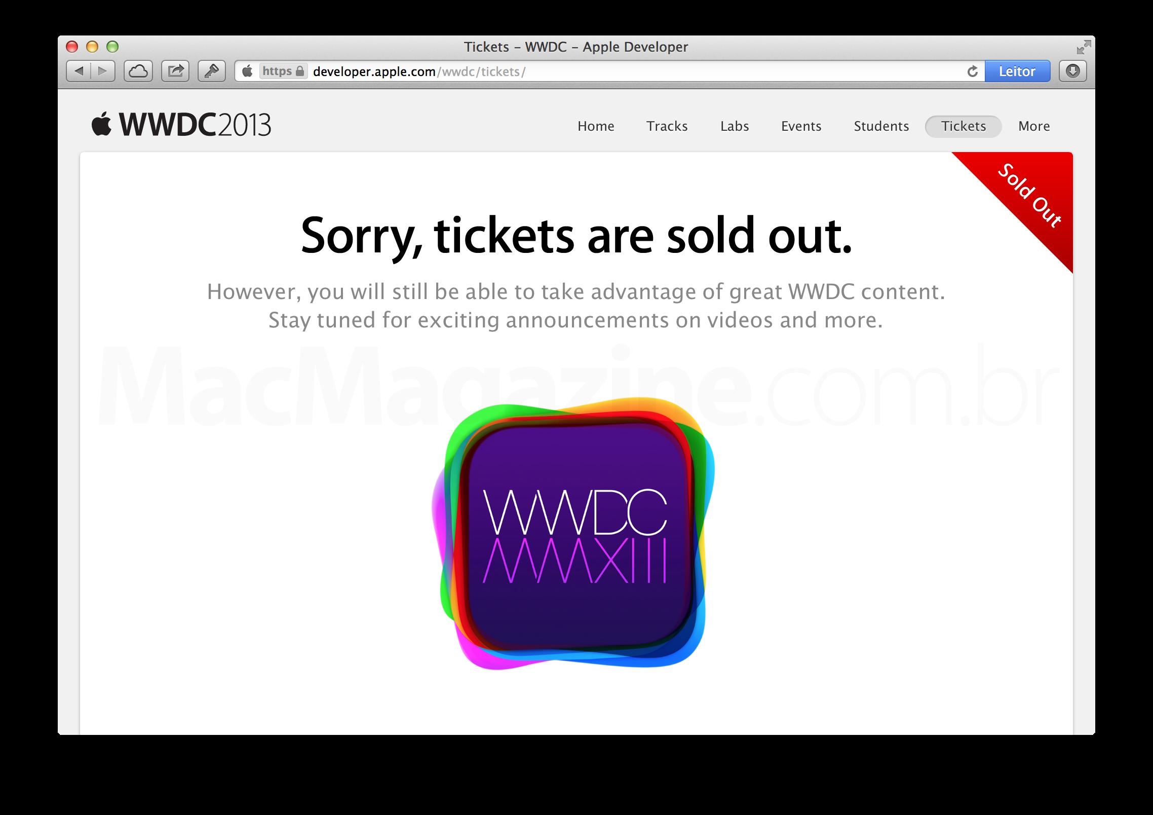 Tickets esgotados para a WWDC 2013