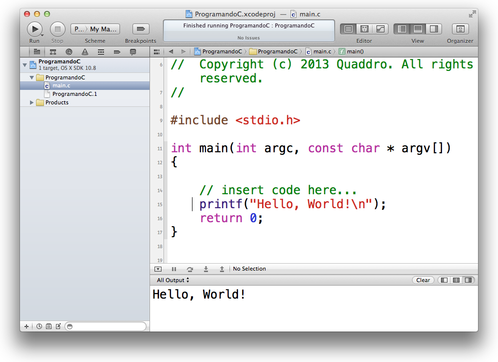 Console do Xcode
