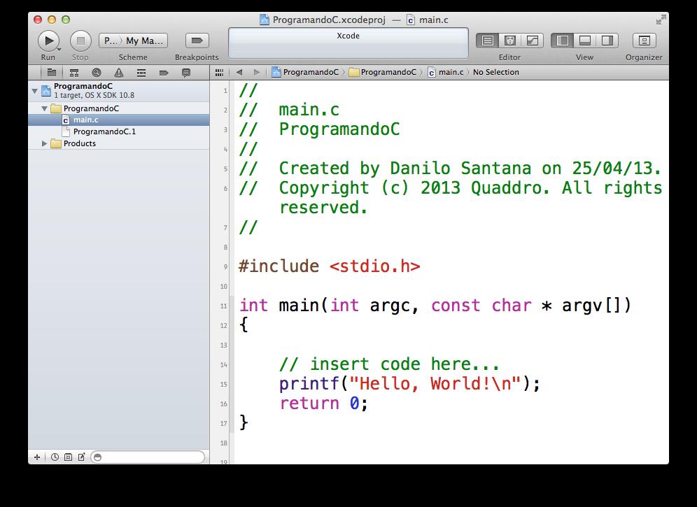 Tela principal do Xcode