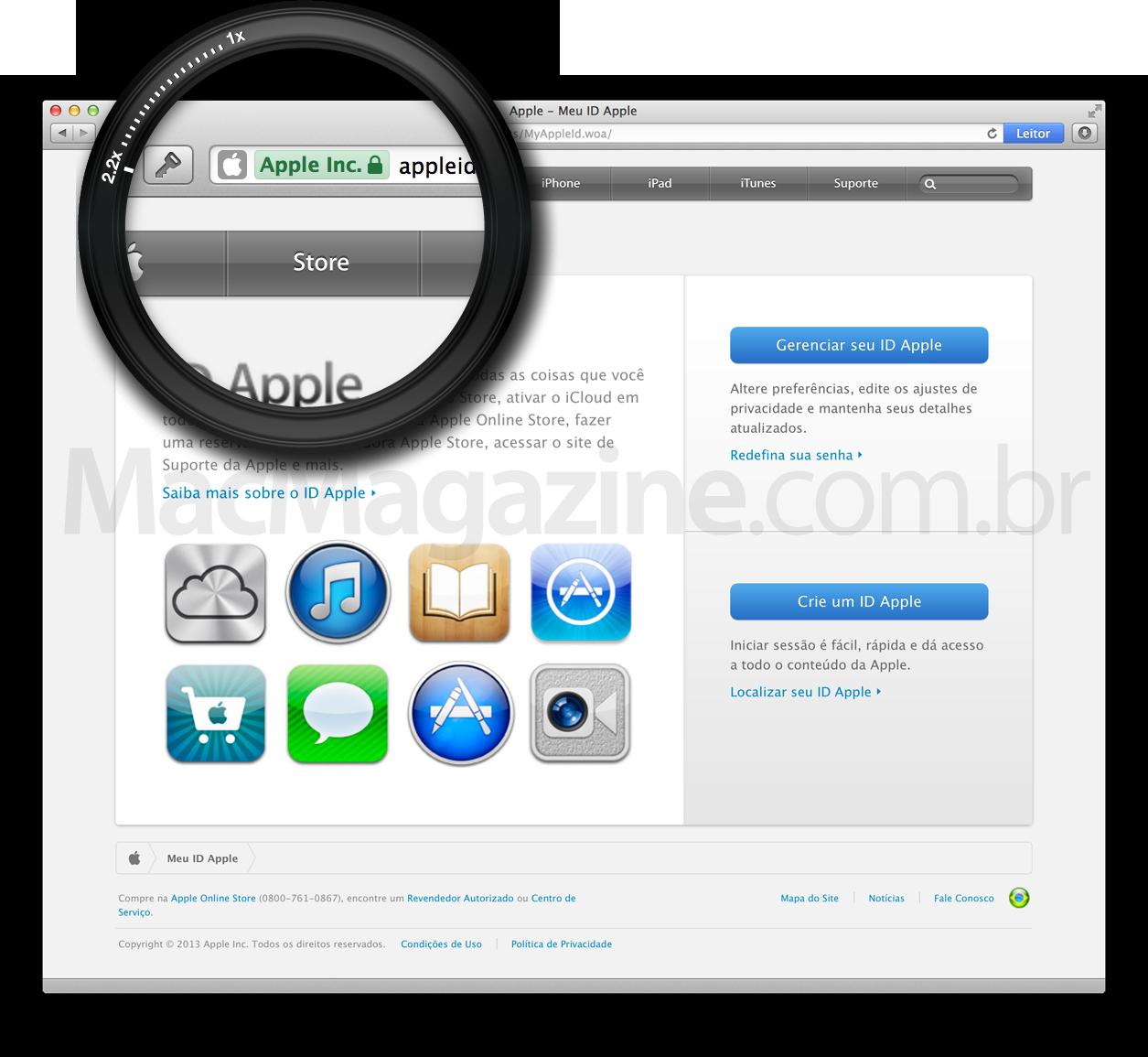 Página do Apple ID