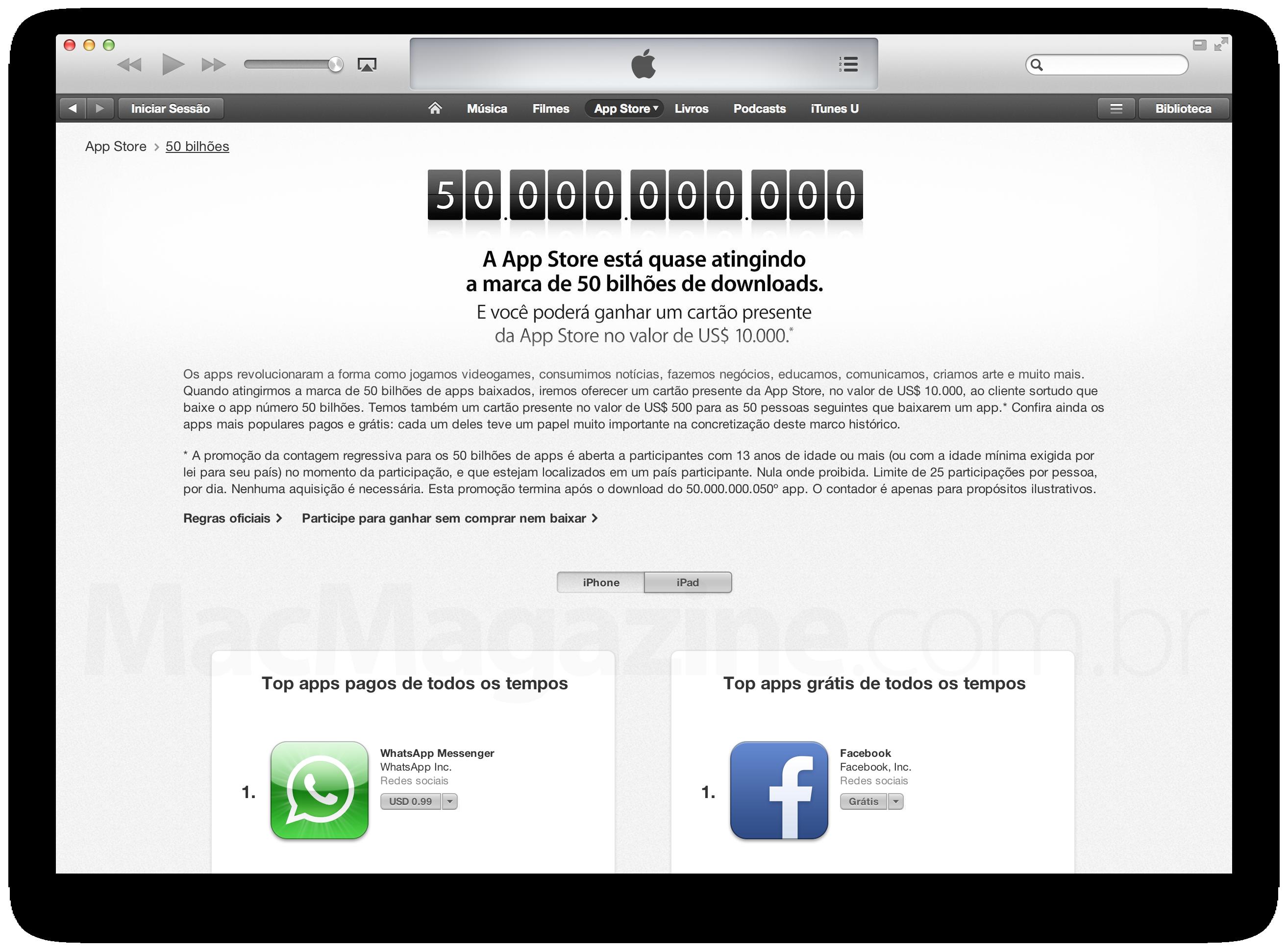 Contagem regressiva no iTunes (50 bilhões de apps)