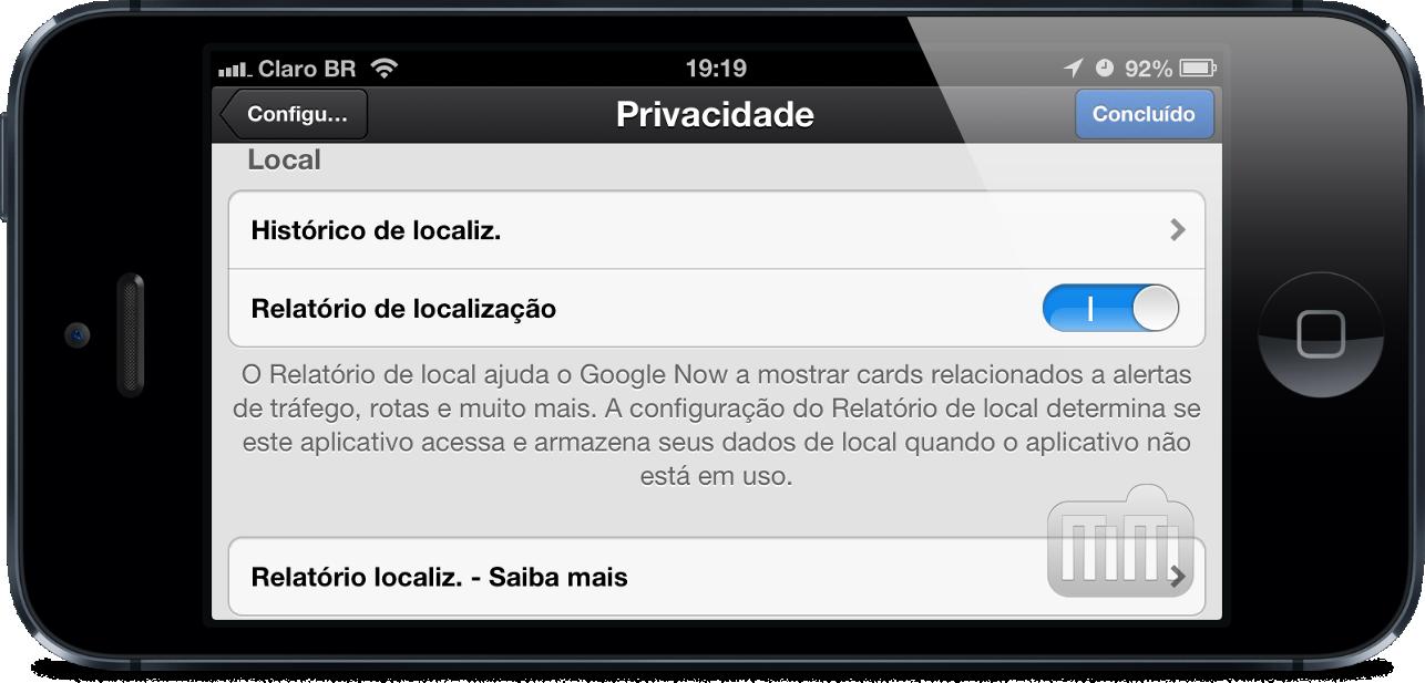 Privacidade (localização) no Google Now