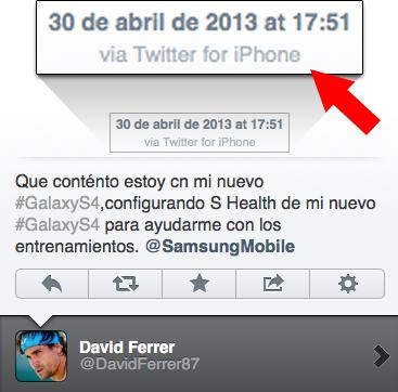 Tweet do tenista David Ferrer