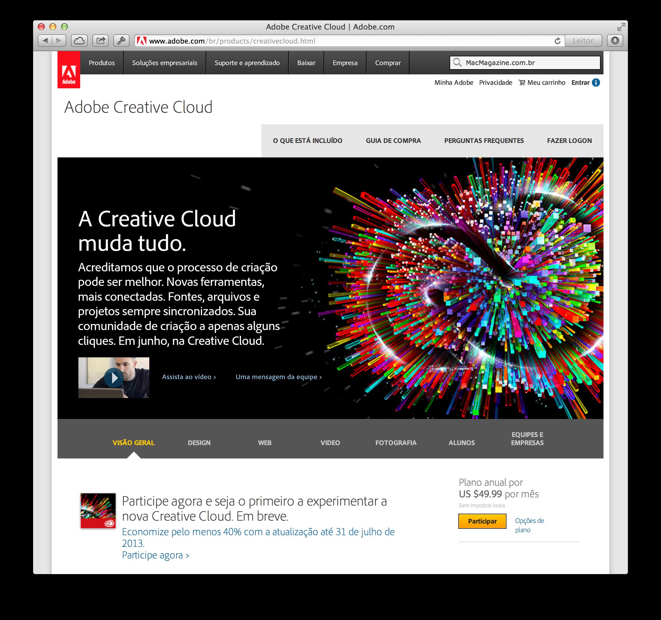 Página do Creative Cloud no site da Adobe Brasil