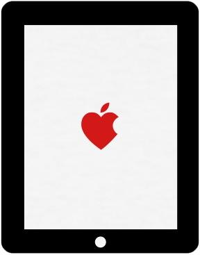 iPad com um coração dentro